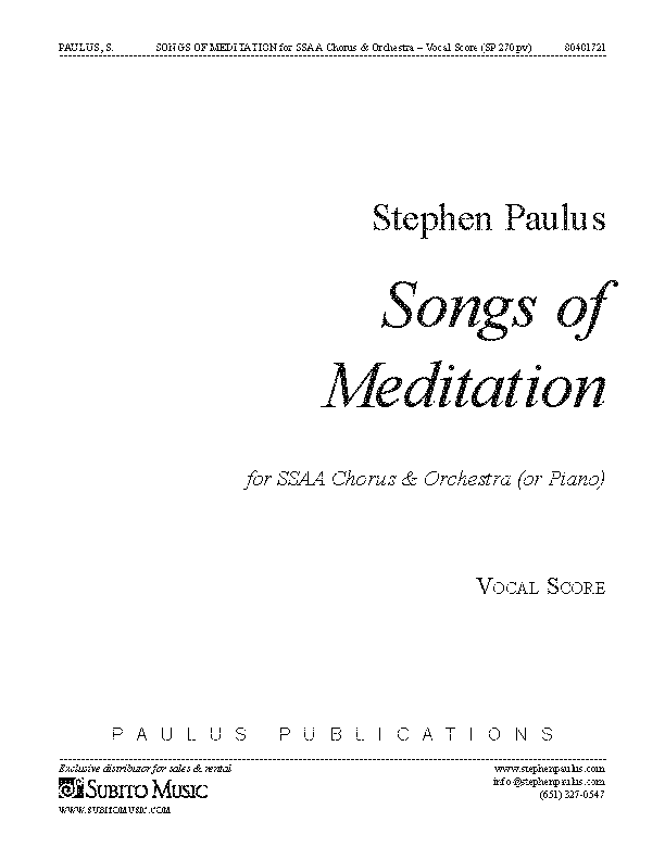 Songs of Meditation for SSAA Chorus & Orchestra (or Piano)